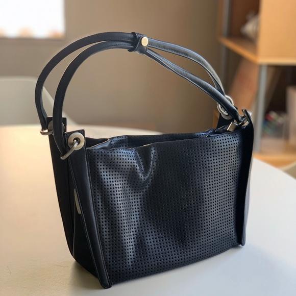 Sondra Roberts Handbags - Perforated Black Leather Sondra Roberts Handbag